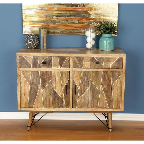 2-Drawer Geometric Wooden Brown Cabinet