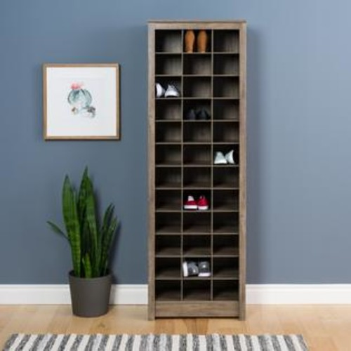 Prepac Manufacturing Drifted Gray Space-Saving Shoe Storage Cabinet
