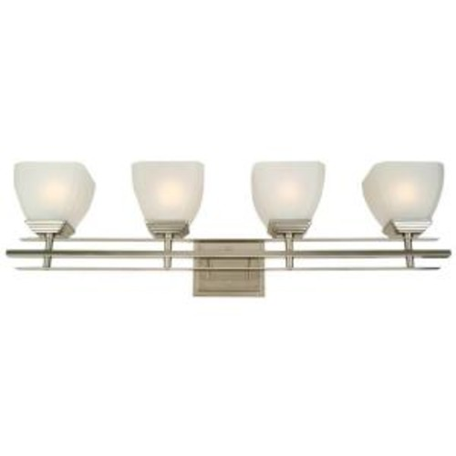 Yosemite Home Decor Half Dome 4-Light Satin Nickel Bathroom Vanity Light with White Frosted Glass Shade