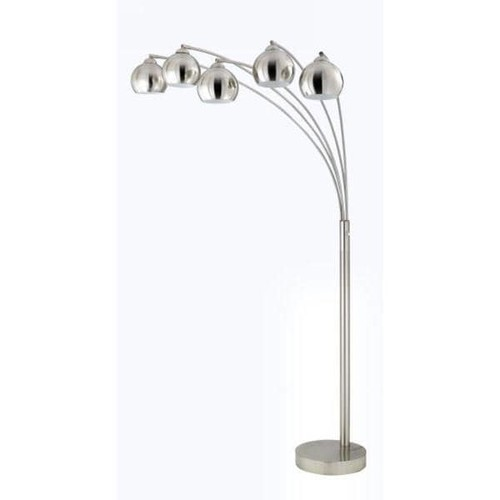 Brushed Steel Shade 5-light 60-watt Arc Floor Lamp