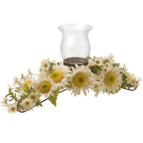 National Tree Company 25 in. W White Sunflower Candle Holder