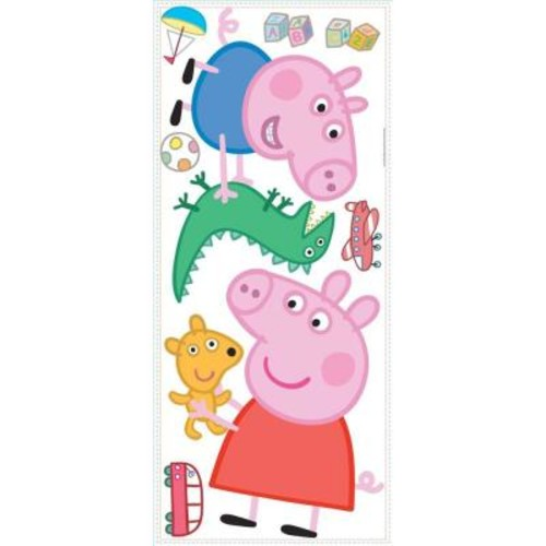 RoomMates 5 in. W x 19 in. H Peppa the Pig - Peppa and George Playtime 8-Piece Peel and Stick Giant Wall Decal