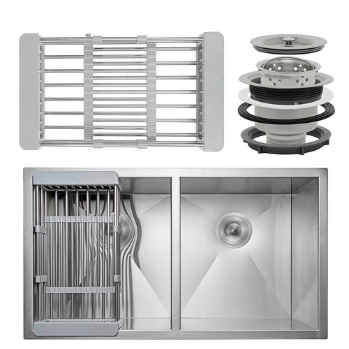 AKDY Handcrafted All-in-One Undermount Stainless Steel 33 in. Double Bowl Kitchen Sink with Tray and Drain