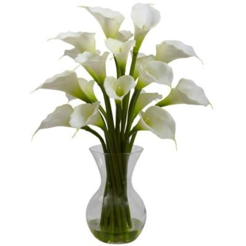 Nearly Natural Galla Calla Lily with Vase Arrangement in Cream