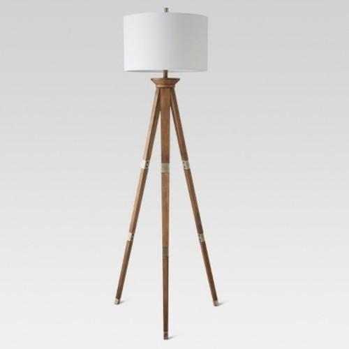 Oak Wood Tripod Floor Lamp Brass Lamp Only - Threshold
