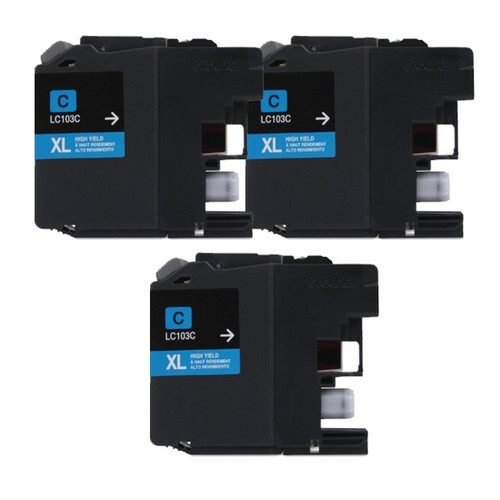 Brother LC103 Cyan Compatible Ink Cartridge (Remanufactured) (Pack of 3)