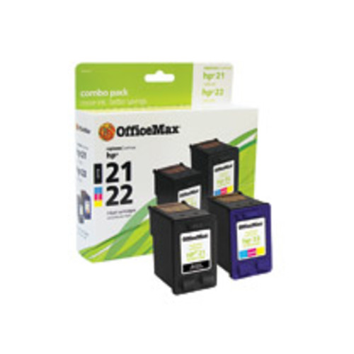 OfficeMax Black/TriColor Ink Cartridge Combo Pack Compatible with HP 21/22 (C9509FN)