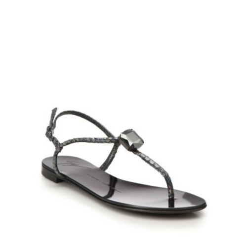 Crystal Metallic Snake-Embossed Leather Sandals