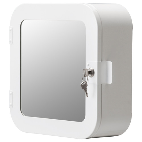 GUNNERN Lockable mirror cabinet, white