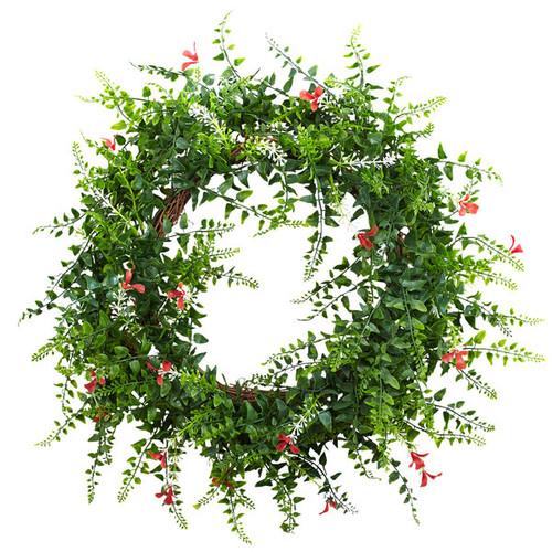 18-inch Floral & Fern Double Ring Wreath w/Twig Base