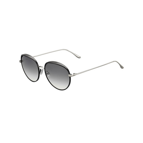 JIMMY CHOO Ello Round Metal Pavé Sunglasses, Black