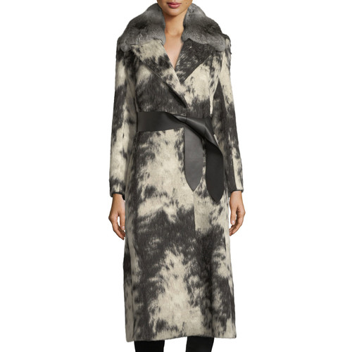 FENDI Fleece Wrap Coat With Chinchilla Fur