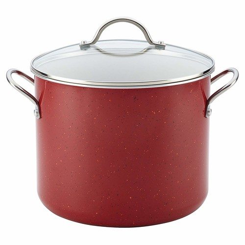 Farberware New Traditions Speckled Aluminum Nonstick 12-Quart Covered Stockpot, Red [Red]