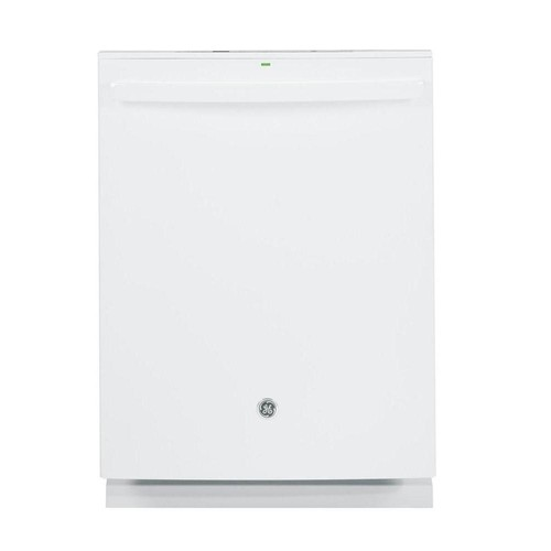 GE Top Control Built-In Tall Tub Dishwasher in White with Stainless Steel Tub and Steam Prewash