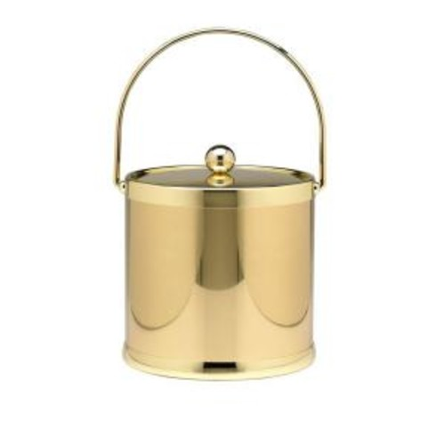 Kraftware Americano 3 Qt. Polished Brass Ice Bucket and Lid, Metal Bale Handle