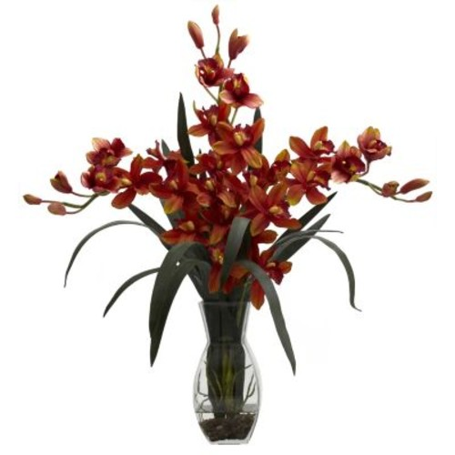 Nearly Natural Triple Cymbidium with Vase Arrangement
