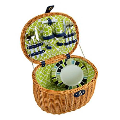 Picnic at Ascot Ramble Trellis Green Natural Picnic Basket for Two