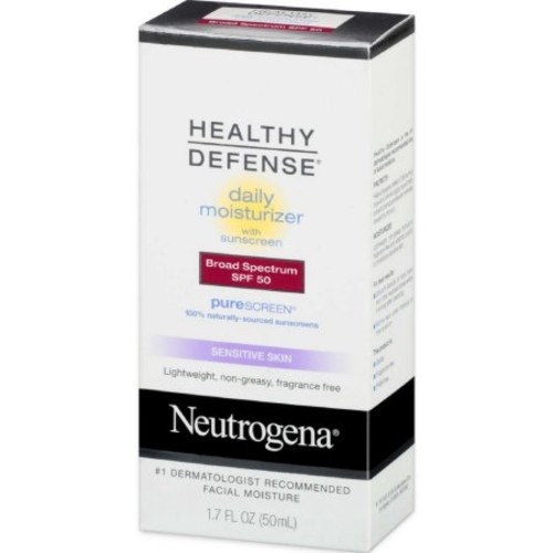 Neutrogena Healthy Defense Daily Moisturizer Sensitive Skin, SPF 50 Lotion 1.70 oz (Pack of 3)