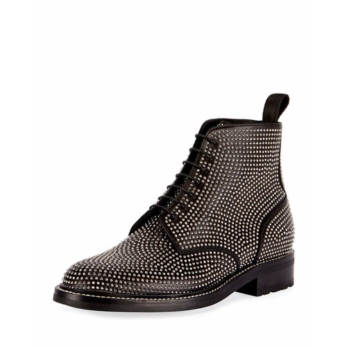 SAINT LAURENT William 20 Studded Leather Combat Boot, Gray