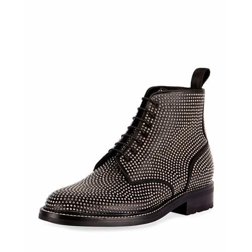 SAINT LAURENT William 20 Studded Leather Combat Boot, Black