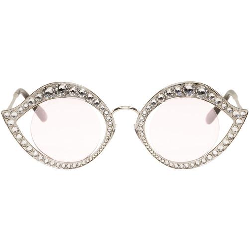 GUCCI Silver Crystal Cat Eye Sunglasses