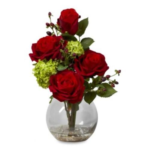 Nearly Natural Rose & Hydrangea Silk Flower Arrangement