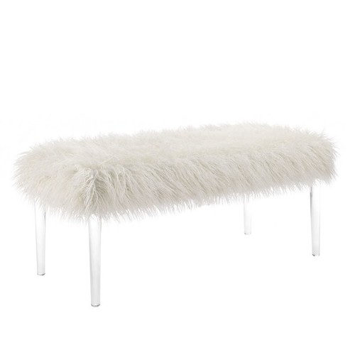 Linon Faux Flokati Acrylic Living Room Bench in White