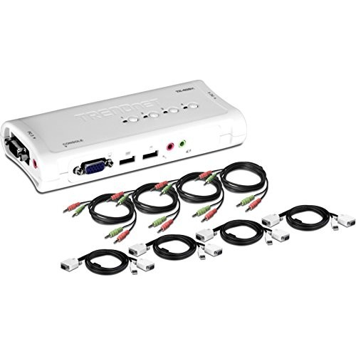 TRENDnet 4-Port USB KVM Switch and Cable Kit with Audio, TK-409K [VGA USB]