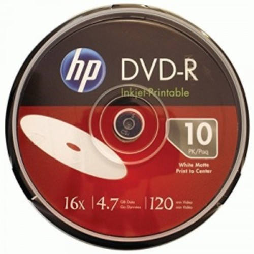 HP 4.7GB 16x Printable DVD-Rs, 10-ct Cake Box Spindle DM16WJH010CB