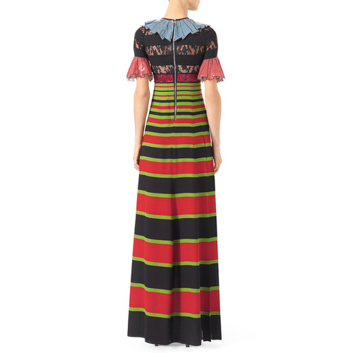 GUCCI Trompe L'Oeil Sequin Gown, Black/Multi