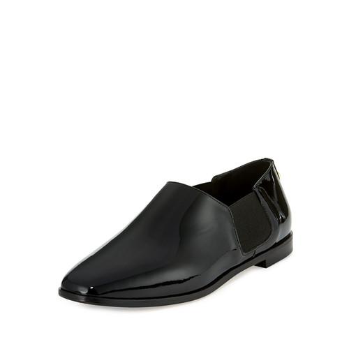 JIMMY CHOO Glint Patent Slip-On Flat Boot, Black