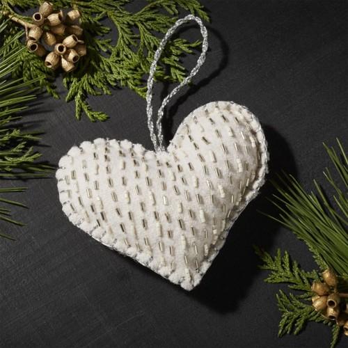 Plush Silver Heart Ornament