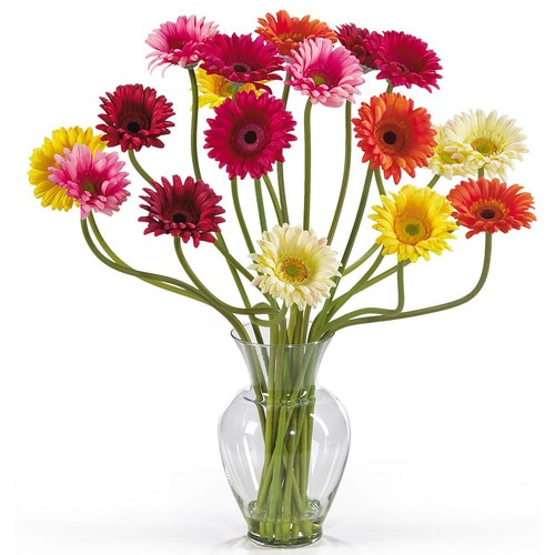 Nearly Natural 21 in. Gerber Daisy Liquid Illusion Silk Flower Arrangement Mixed Colors