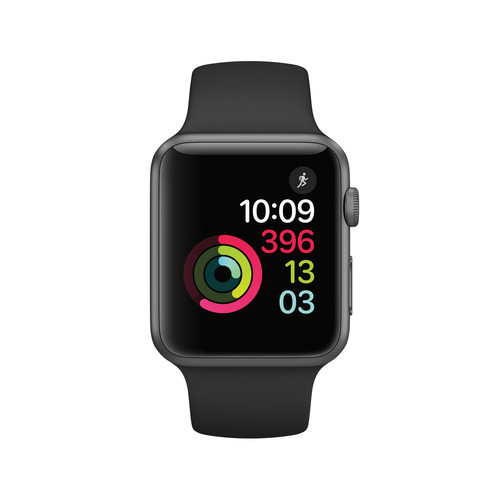 Apple Watch Series 1 with Space Gray Aluminum Case, 42mm - Black Sport Band