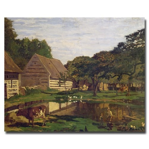 Trademark Fine Art A Farmyard in Normandy 1863 by Claude Monet Canvas Wall Art, 26x32-Inch [26 by 32-Inch]
