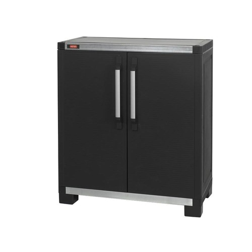 Keter Wide XL 35 in. x 39 in. Freestanding Plastic Utility Base Cabinet in Black