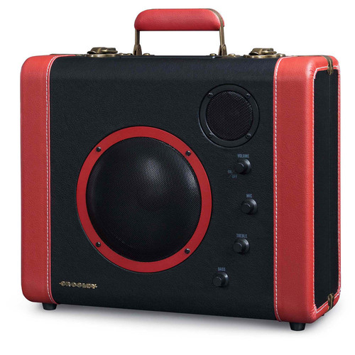 Crosley CR8008A-BK Soundbomb Portable Bluetooth Speaker with Aux-In and Microphone Jack, Black & Red [Black & Red, Standard Packaging]