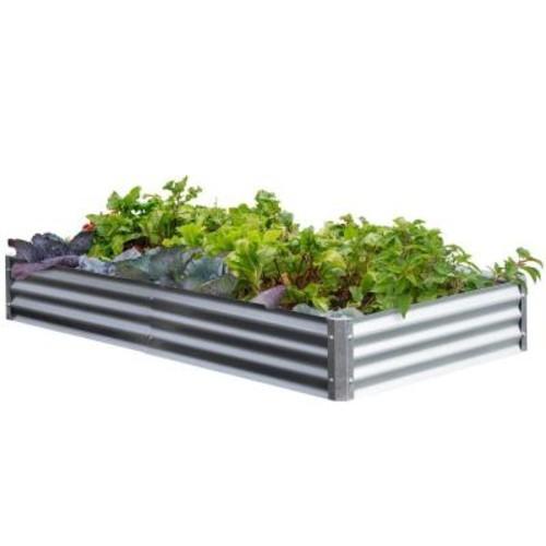 EarthMark Bajo Series 40 in x 76 in. x 10 in. Galvanized Metal Raised Garden Bed Bundle