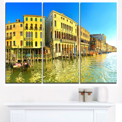 Yellow Tinged Grand Canal Venice - Cityscape Artwork Canvas