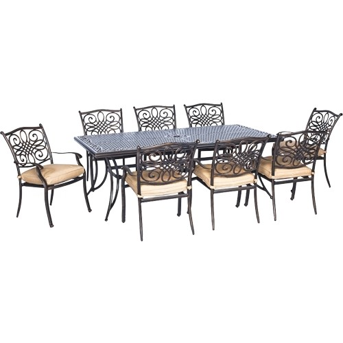 Hanover - Traditions 9-Piece Dining Set - Natural Oat