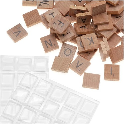 100 Scrabble Tiles And Epoxy Stickers Kit - For Pendant Necklaces
