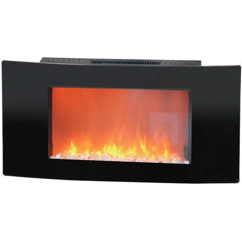 Cambridge Callisto CAM35WMEF-1BLK 35 In. Wall-Mount Electronic Fireplace with Curved Panel and Cryst - Black