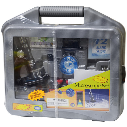 EDU-Toys Plastic Microscope Set With Carrying Case - G769188410116