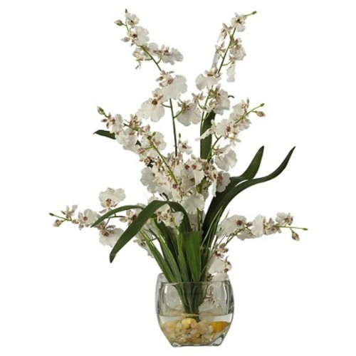 Nearly Natural Dancing Lady Orchid Liquid Illusion Silk Flower Arrangement White
