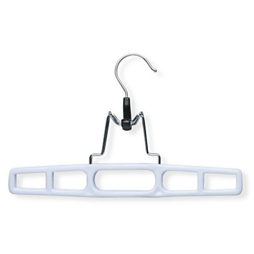 Honey-Can-Do Skirt Hangers With Clamps, White, Pack Of 12