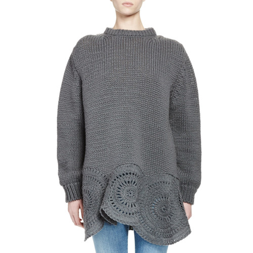 STELLA MCCARTNEY Oversized Crochet-Trim Knit Sweater, Gray