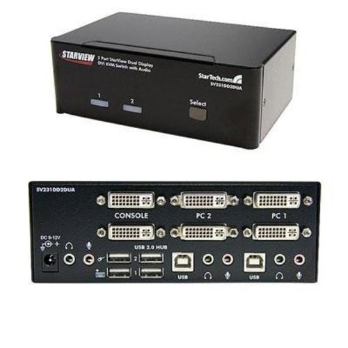 StarTech.com 2 Port Dual DVI USB KVM Switch with Audio and USB 2.0 Hub (SV231DD2DUA)