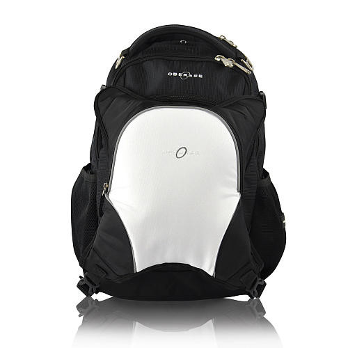 Obersee Oslo Backpack Diaper Bag and Cooler - Black / White
