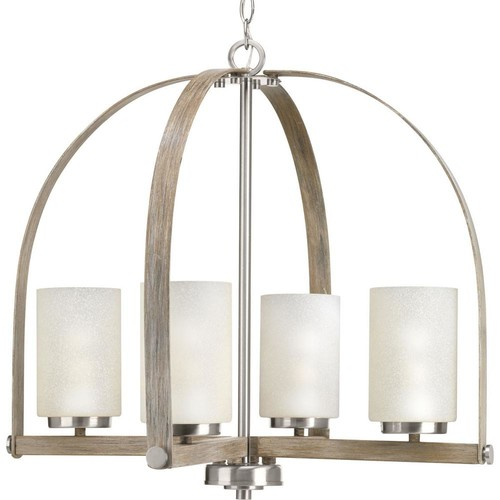 Progress Lighting Aspen Creek Collection 4-light Brushed Nickel Chandelier with Natural Parchment Glass Shade