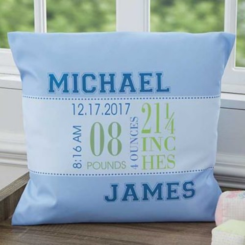 Baby's Big Day 18-Inch Square Keepsake Throw Pillow